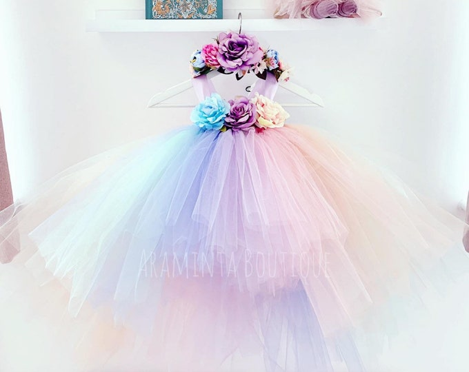 Unicorn tutu dress, unicorn tutu, unicorn party dress, fairy tutu dress, unicorn theme, flowergirl tutu dress, unicorn costume, rainbow tutu