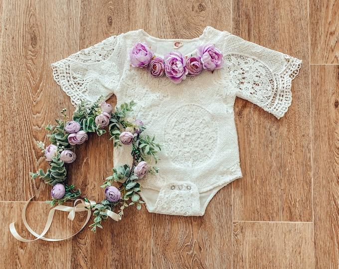 Baby and toddler lace flower romper, purple flower romper, cakesmash romper, sitter prop, lace bodysuit, floral romper, white baby romper