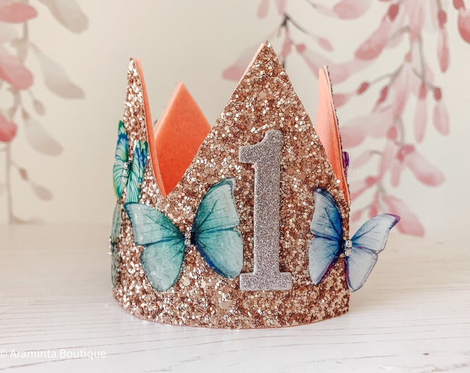 Birthday gold glitter and butterflies crown, cakesmash hat, first birthday crown, party hat, glitter floral & butterfly crown tiara