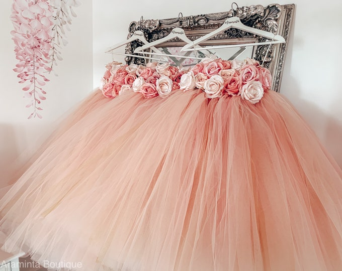 Girls DELILAH flowergirl tutu dress, Rose Gold tutu dress, flower tutu dress.Fairy tutu costume. Bridesmaid,Birthday tutu, princess tutu