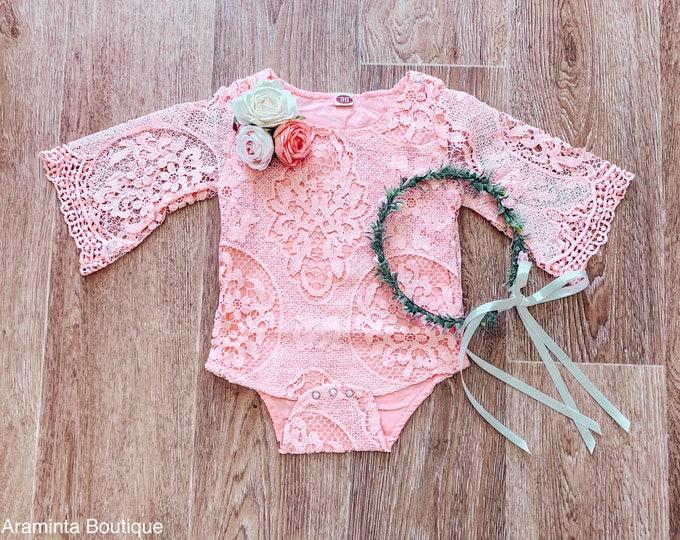 Baby and toddler lace flower romper, pink flower romper, cakesmash romper, sitter prop, lace bodysuit, floral romper, blush pink baby romper