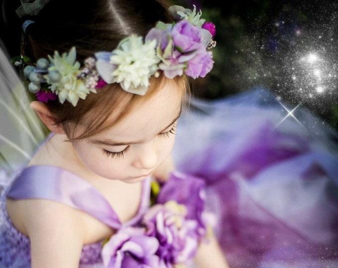 Lilac LILAH flower crown, flower headband, flower wreath, pastel headband, rose crown, rose hair accessory, flowergirl headband