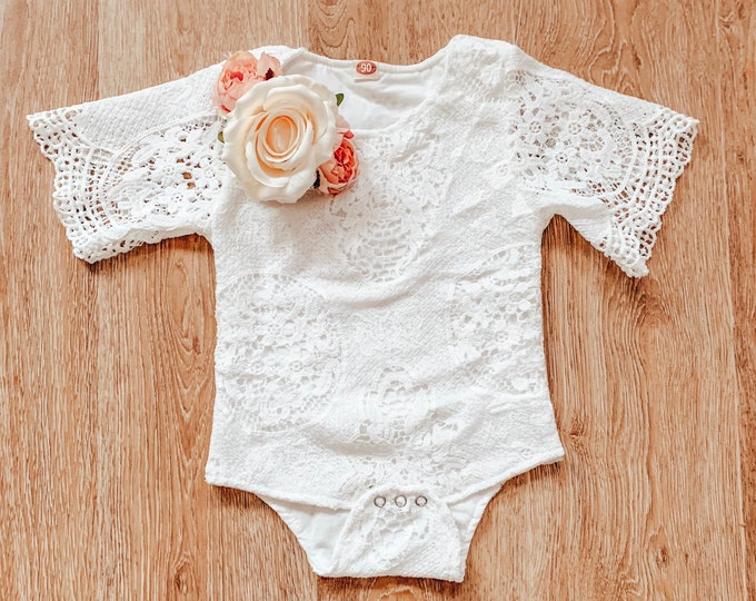 Baby and toddler lace flower romper, rose flower romper, cakesmash romper, sitter prop, lace bodysuit, floral romper, white baby romper