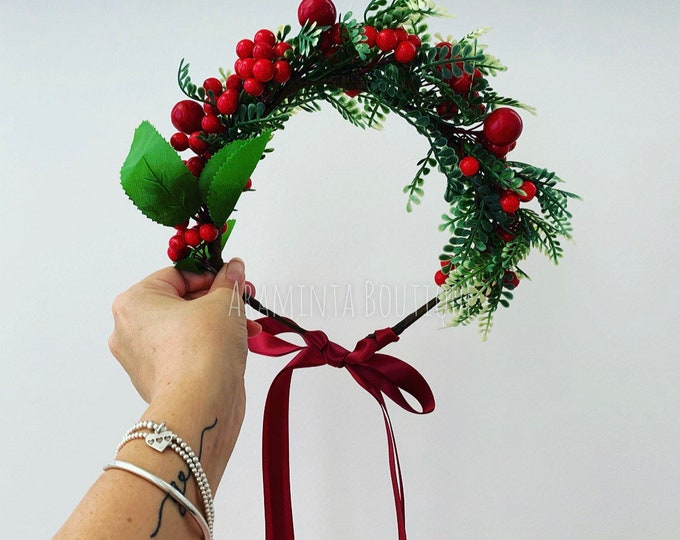 Luxury Berry christmas headband, christmas headband wreath, berry headband, red Christmas flower crown, flower crown, stocking filler, berry