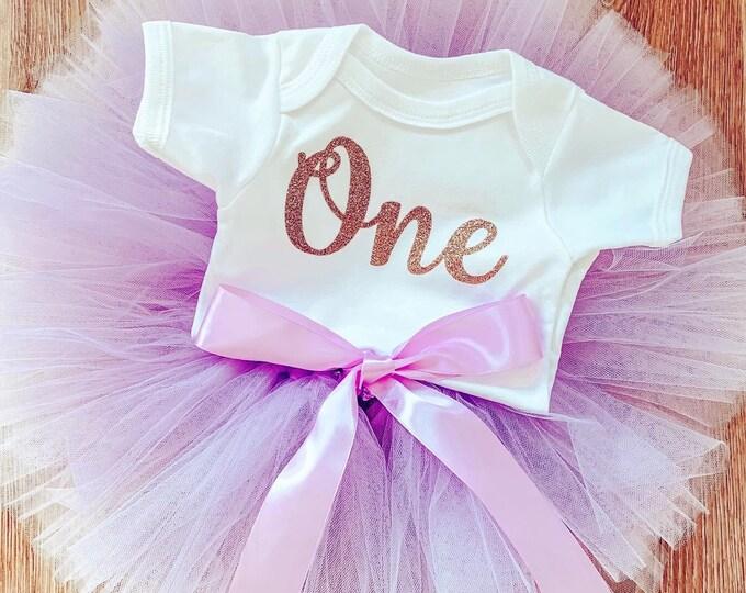 Lilac purple cakesmash tutu set, first birthday tutu skirt and romper set, first birthday outfit, photoshoot costume