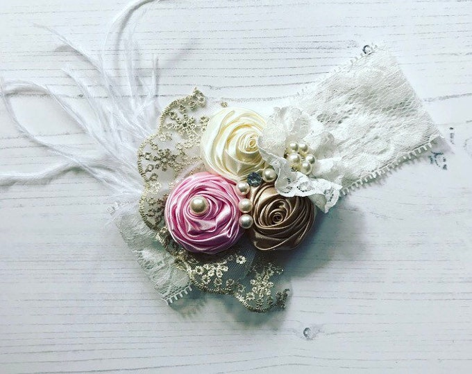 Baby Flower Headbands, Pearls, Diamante & Lace Headbands. Pink and Cream. Unicorn Headbands. Cake smash, Birthday and Party Accessories