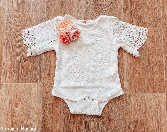Baby and toddler lace flower romper, pink flower romper, cakesmash romper, sitter prop, lace bodysuit, floral romper, white baby romper