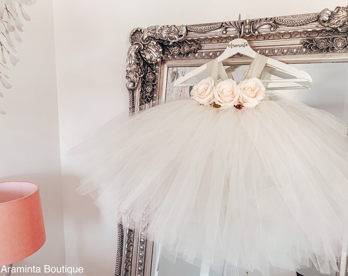 Girls AURORA flowergirl ivory tutu dress, rose tutu dress, white tutu, fairy tutu dress, bridesmaid, cakesmash outfit, party  dress