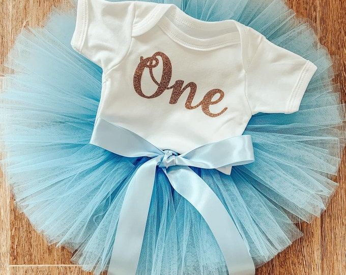 Powder blue cakesmash tutu set, first birthday tutu skirt and romper set, first birthday outfit, photoshoot costume