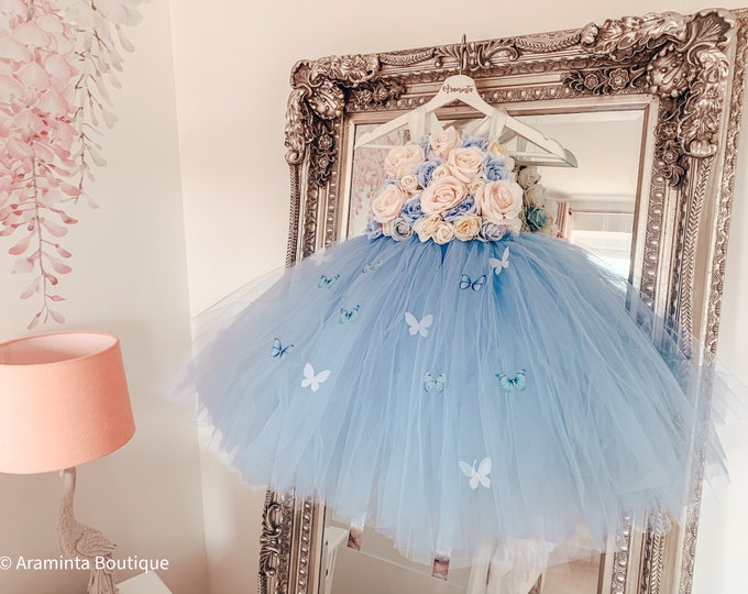 Girls CELESTE BUTTERFLY flower tutu dress, floral bodice, baby blue flower tutu dress.Fairy tutu costume. Bridesmaid & flowergirl dress