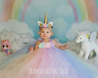 86393226ccb0f Girls unicorn tutu dress, pastel unicorn tutu, flowergirl tutu dress, rainbow  tutu dress, cakesmash outfit, unicorn costume, unicorn outfit