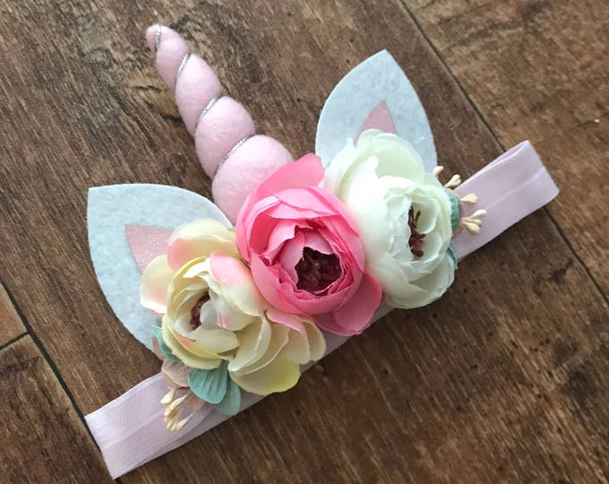 Unicorn Headband, Pink, Cream & Pink Sparkle, Cake Smash, Girls Birthday, Flower Headband, Photo Prop, Birthday Party