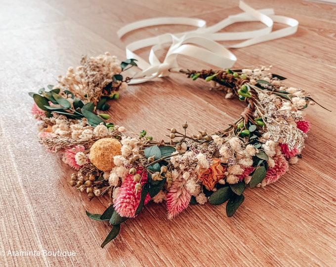 Dried flower crown, gypsophila & pampas grass headpiece wreath, flower girl and bridesmaid crown, autumn winter fall crown