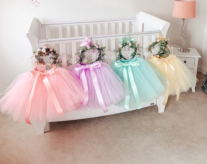 Girls pastel tutu, tutu skirt, flowergirl tutu, bridesmaid tutu, wedding tutu, birthday tutu, cakesmash tutu, ivory, mint, pink, lilac tutu
