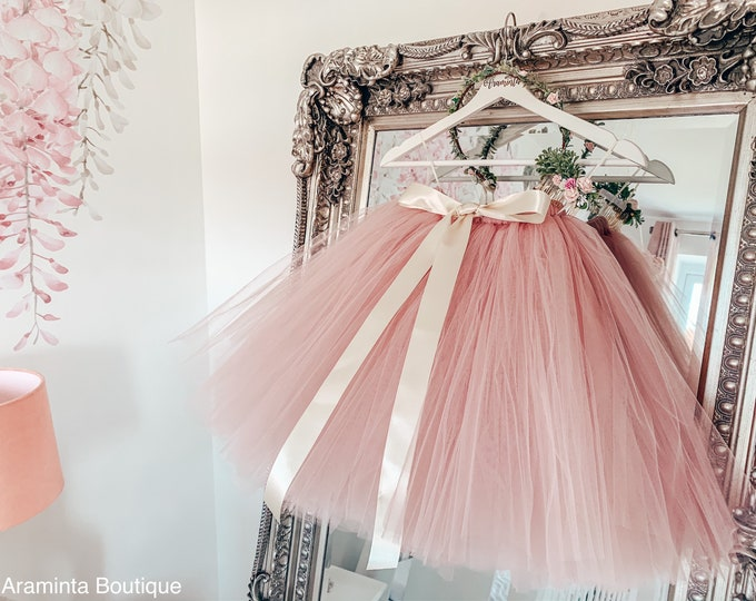 Girls dusty pink tutu, tutu skirt, flowergirl tutu, bridesmaid tutu, wedding tutu, birthday tutu, cakesmash tutu