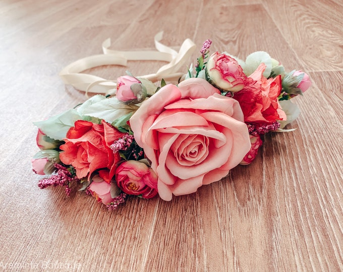 BLUSH rose flower crown, rose flower crown, pink flower crown, floral headband, flowergirl headband, floral headpiece, bridesmaid