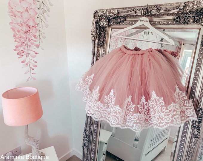 Adult tulle skirt with chantilly lace trim, bridesmaids tutu, maid of honour tutu, flowergirl tutu, wedding tutu, dusty pink tutu