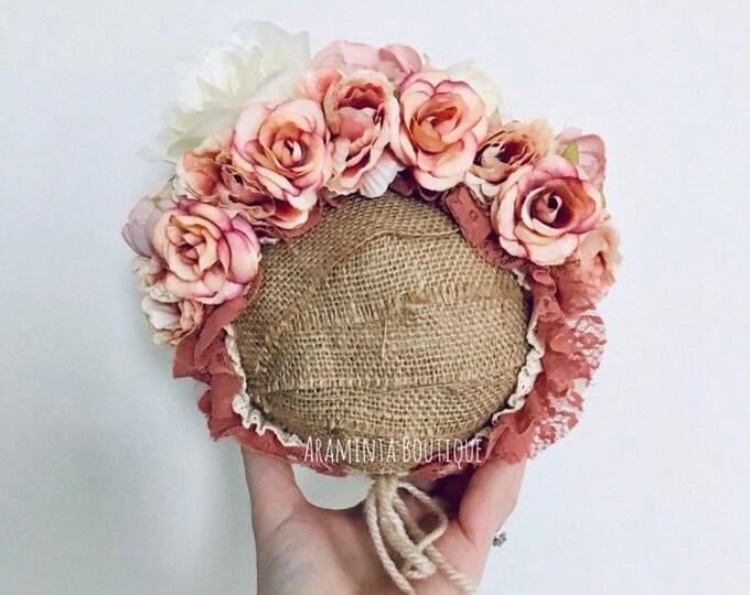 READY TO SHIP Pink floral bonnet, baby bonnet, flower bonnet, newborn photo prop, sitters prop, baby hat, baby flower lace bonnet