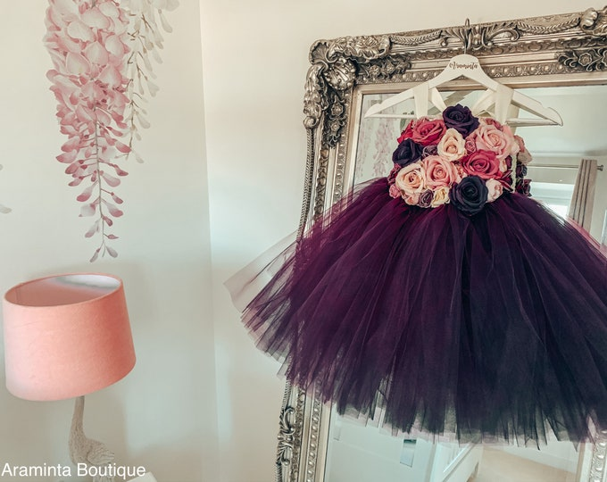 Girls OPHELIA flower tutu dress, flower bodice tutu dress, floral dusty pink & plum purple dress.Fairy tutu costume. Bridesmaid, princess