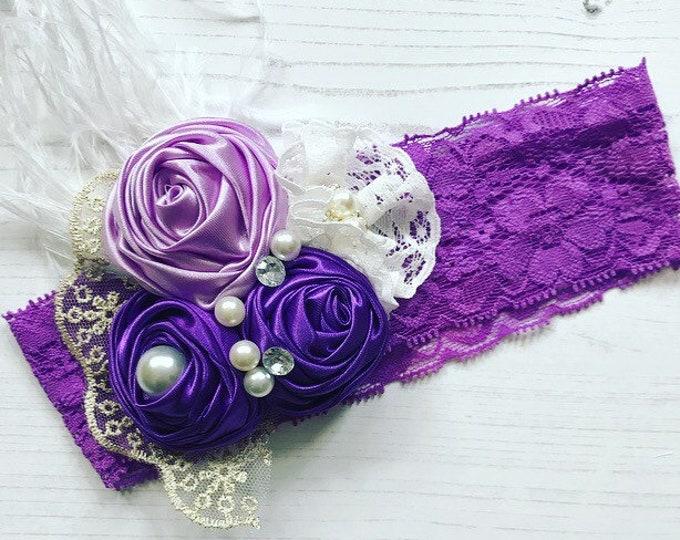 Baby Flower Headbands, Pearls, Diamante & Lace Headbands. Purple and White. Unicorn Headbands. Cake smash, Birthday and Party Accessories
