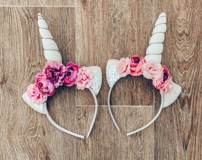 Unicorn Headband/Pink and White Unicorn Headband/White Unicorn Horn/ Girls Headband/ Cake Smash, Girls Birthday, Flower Headband, Phot prop