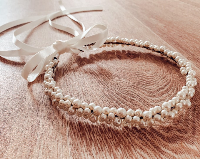 Pearl tiara tie back, pearl headband, pearl headpiece, bridal headpiece, flowergirl and bridesmaid crown, pearl hair accessory