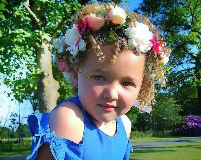 Flower crown, twinning flower crown, matching flower crowns, mummy and daughter flower crowns, flower wreath headpiece, flower headband