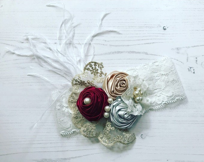 Baby Christmas Headbands, Pearls, Diamante & Lace Headbands. Red and Cream Gold and Silver. Vintage headbands. Cake smash, lace headband