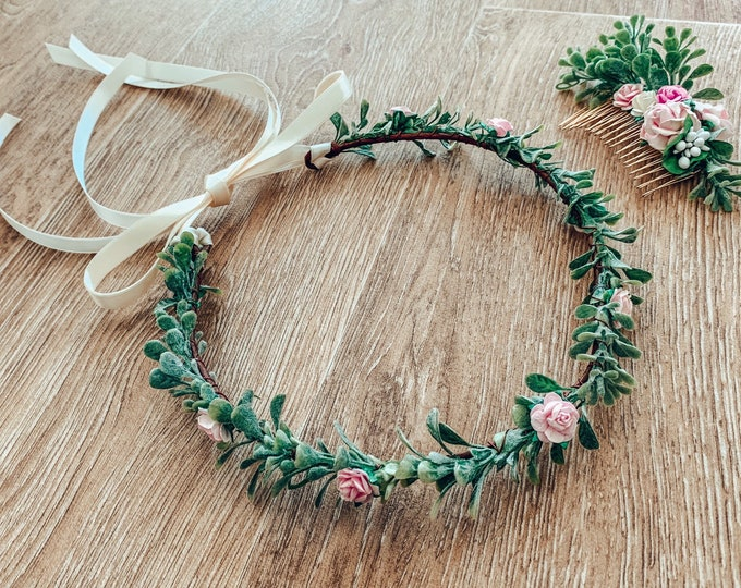 Pink mulberry flower & green leaf foliage crown, delicate flower crown, bridesmaid and flowergirl  hair accessory.