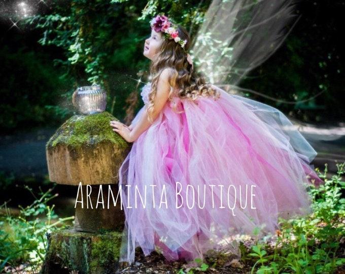 Girls ROSAMOND flowergirl pink tutu dress, Rose tutu dress, bridesmaid blush pink tutu, fairy tutu, flower girl tutu, fairy costume