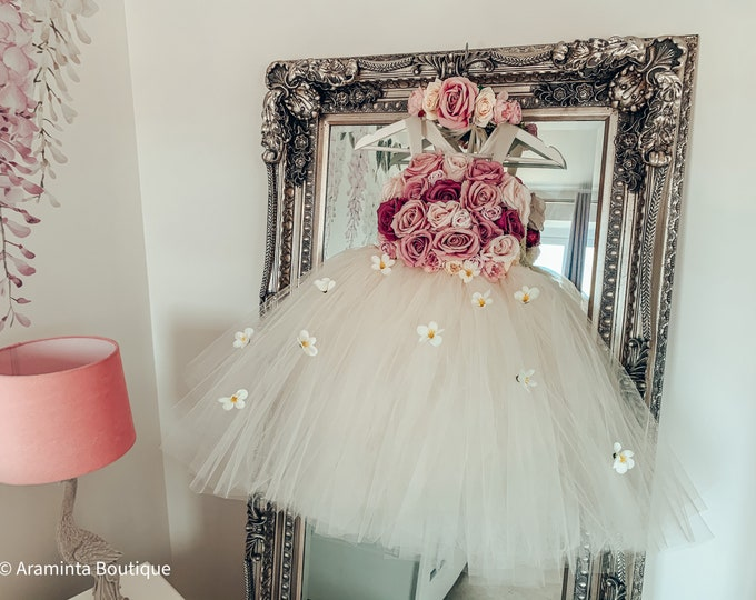 Girls PENELOPE flowergirl tutu dress, ivory white,dusty pink & mauve dress.Fairy costume. Bridesmaid,Birthday tutu, princess tutu