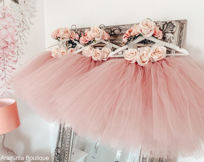 Girls LOTTIE flowergirl dusty pink tutu dress, rose flower girl tulle dress, fairy tutu dress, bridesmaid, cakesmash outfit, party dress