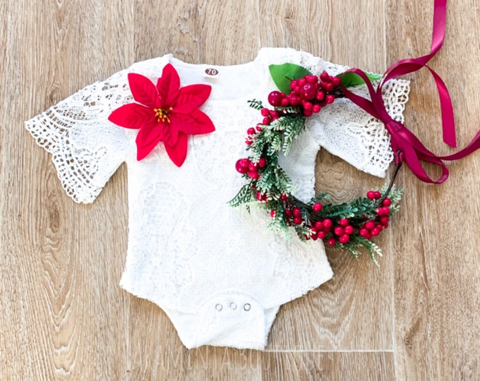 Baby and toddler lace flower romper, Christmas romper, poinsettia flower romper, cakesmash romper, sitter prop, lace bodysuit, floral romper