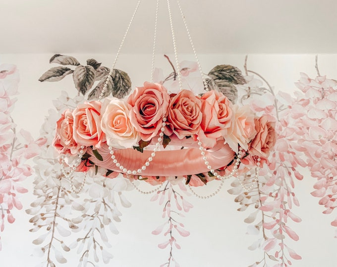 Flower Mobile, Baby Mobile, Floral Mobile, Nursery Mobile, Flower Chandelier, Crib Mobile, Girl Mobile, Baby Chandelier, Boho Dreamcatcher