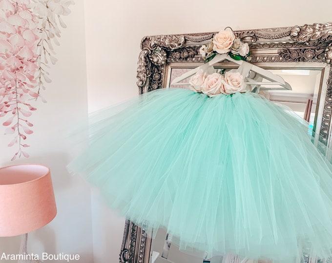 Girls ARAMINTA flowergirl mint tutu dress, rose tutu dress, fairy tutu dress, bridesmaid & flowergirl dress, cakesmash outfit, party dress
