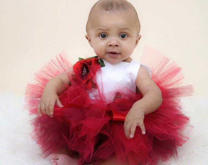 Floral baby romper and tutu set, valentines baby, baby romper, baby outfit, red tutu, baby set, cakesmash outfit, first birthday outfit
