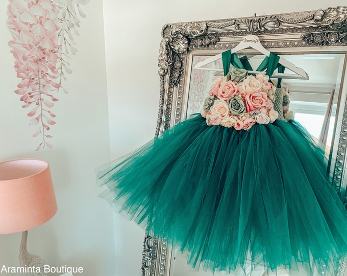 Girls TALLULAH flower tutu dress, flower bodice tutu dress, floral dusty pink & green tutu dress.Fairy tutu costume. Bridesmaid, princess