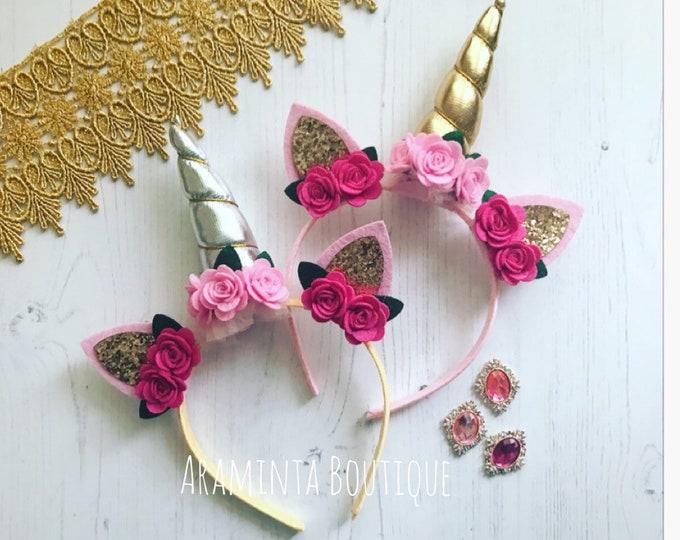 Unicorn headband, girls unicorn headband, flower unicorn headband, unicorn horn headband, silver unicorn headband, gold unicorn horn