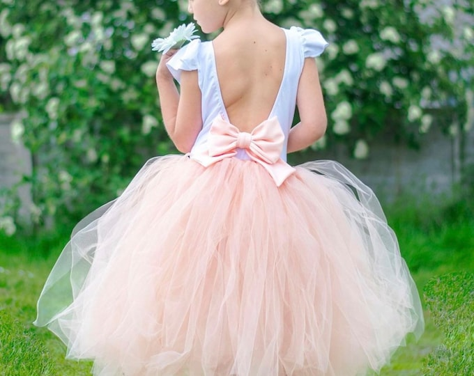 Girls tutu, tutu skirt, flowergirl tutu, bridesmaid tutu, wedding tutu, birthday tutu, cakesmash tutu, peach tutu