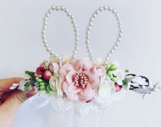 Bunny ears, bunny headband, rabbit ears, pearl bunny ears, bunny hair accessory, easter bunny, bunny rabbit costume