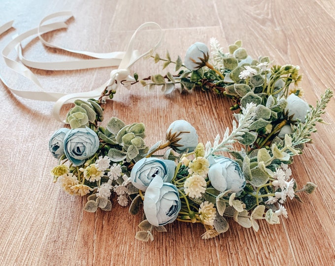 Powder baby blue flower crown, eucalyptus leaf crown, gypsophila crown, flowergirl and bridesmaid floral headpiece
