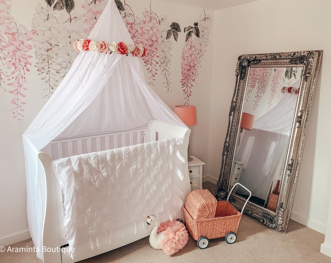 READY TO SHIP White chiffon floral crib & bed canopy in coral, pink and white. Flower mobile, nursery and girls bedroom decor