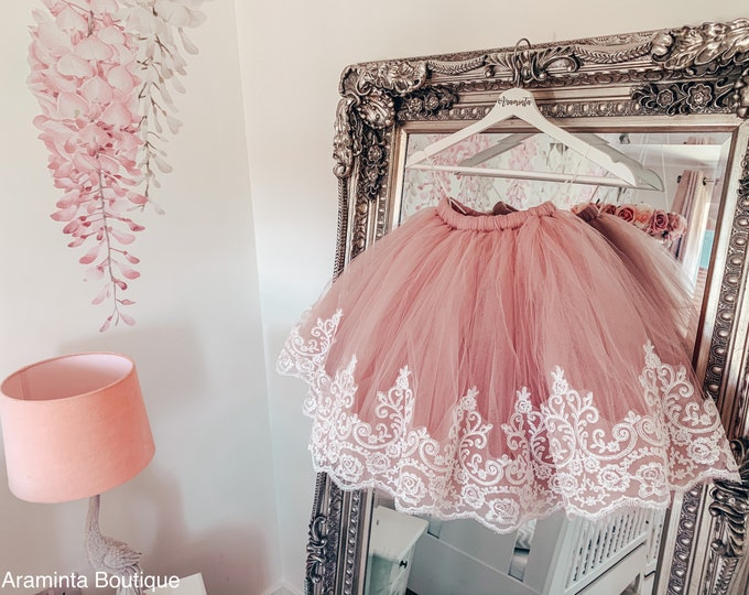 Girls dusty pink & lace trim tutu, tutu skirt, flowergirl tutu, bridesmaid tutu, wedding tutu, birthday tutu, cakesmash tutu