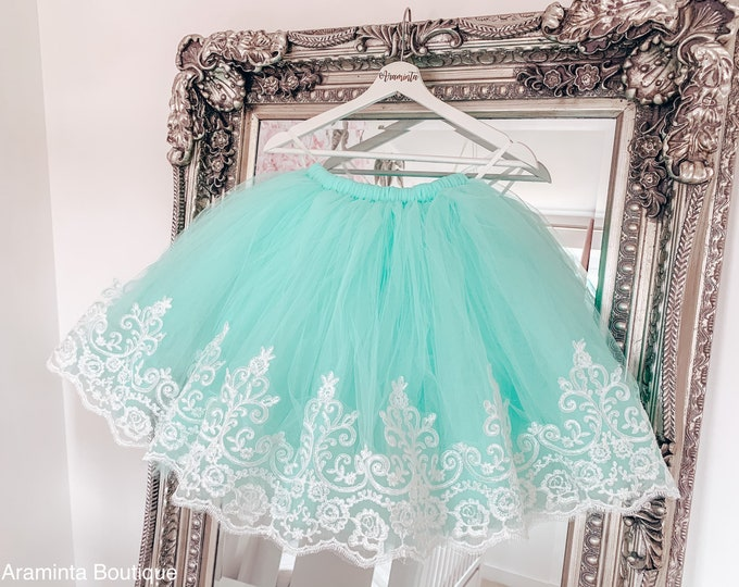 Girls mint green & lace trim tutu, tutu skirt, flowergirl tutu, bridesmaid tutu, wedding tutu, birthday tutu, cakesmash tutu