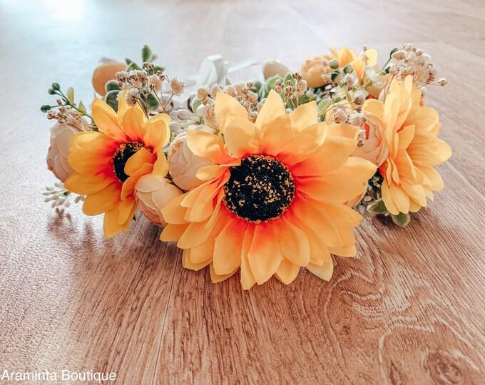 SUNFLOWER large floral crown, yellow flower crown, boho wedding crown, flower girl crown, floral hairpiece, flower garland