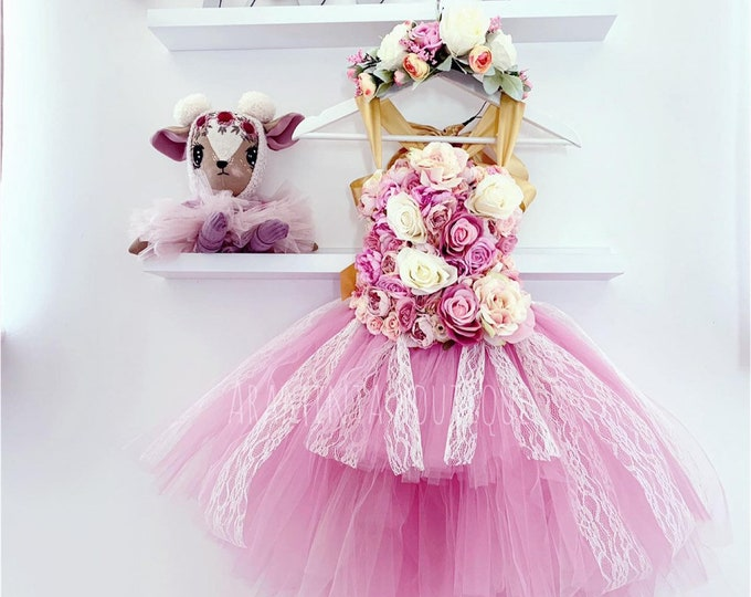 Girls AZALEA flowergirl tutu dress, Unicorn tutu dress, pink flower tutu dress. Fairy tutu costume. Bridesmaid dress,Birthday tutu, princess