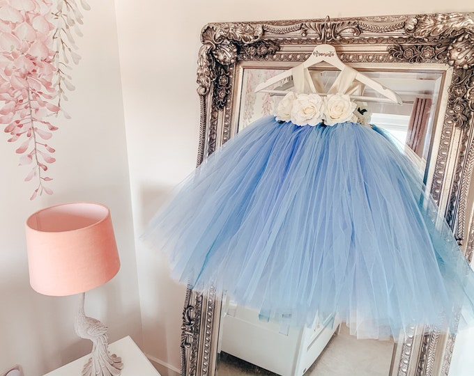 Girls BLUEBELL flowergirl blue tutu dress, blue flower tutu, fairy tutu, fairy costume, Bridesmaid tutu, cakesmash tutu, flower tutu