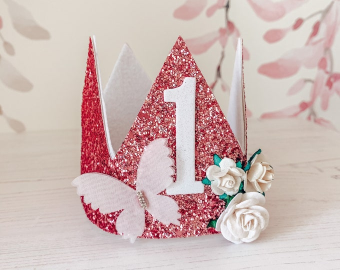 Birthday dusty rose pink crown, cakesmash hat, first birthday crown, party hat, glitter floral & butterfly crown tiara