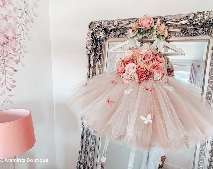 Girls MABEL BUTTERFLY flowergirl tutu dress, Rose Gold, flower tutu dress.Fairy tutu costume. Bridesmaid,Birthday tutu, princess tutu