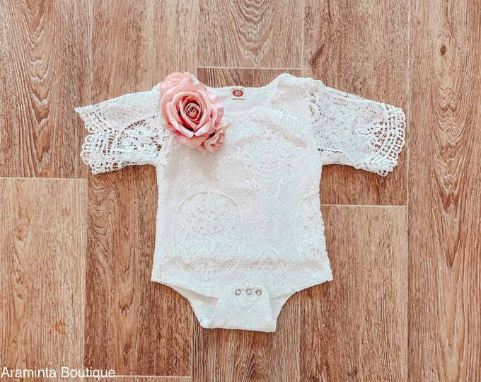 Baby and toddler lace flower romper, pink rose flower romper, cakesmash romper, sitter prop, lace bodysuit, floral romper, white baby romper